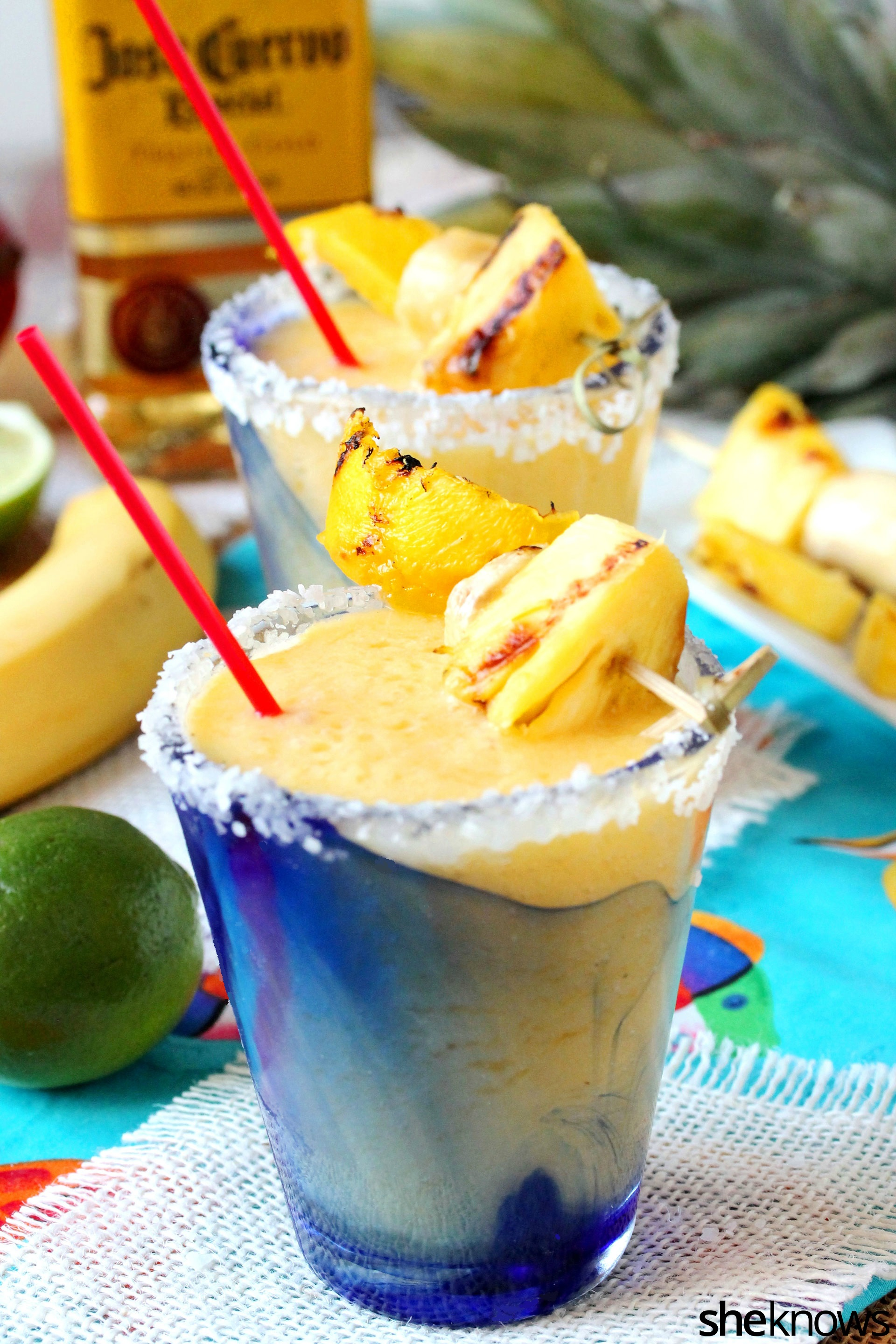 You deserve this grilled tropical margarita with a slight smoky twist